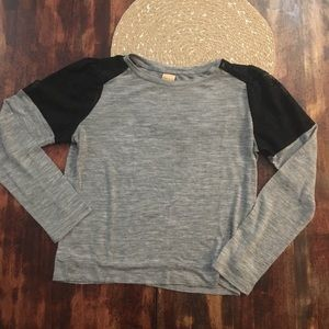 Zara Grey long sleeve with black lace accents